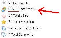 Scribd Traffic Exposed - account screen shot