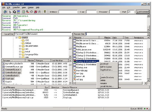 FileZilla software screenshot