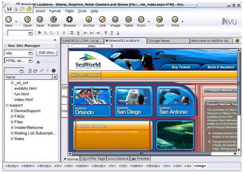 NVU software screenshot1